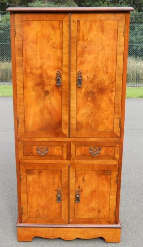 Antique Style Yew Tall Narrow Cupboard Cabinet  (LP Storage)